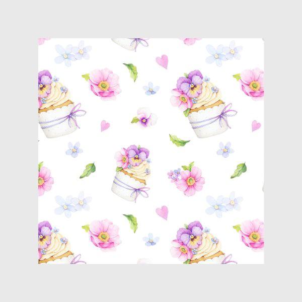 Скатерть «капкейк с цветами»