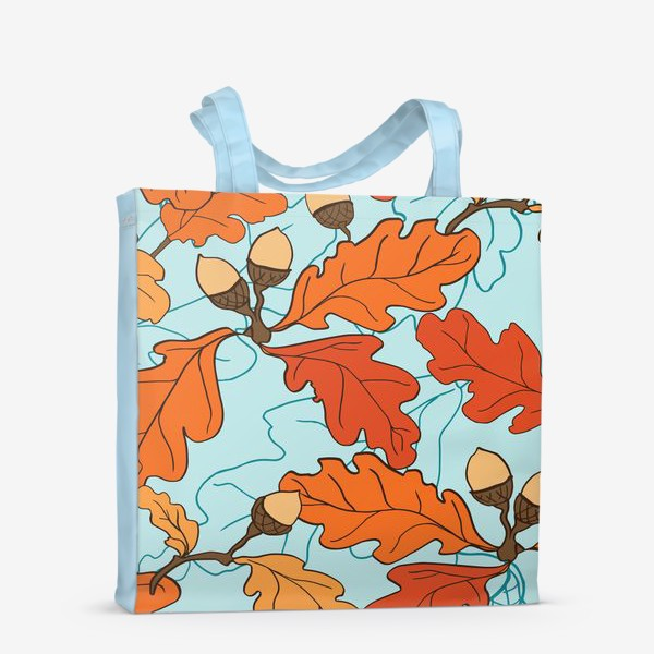 Сумка-шоппер «Осенний паттерн с желудями и дубовыми листьями»