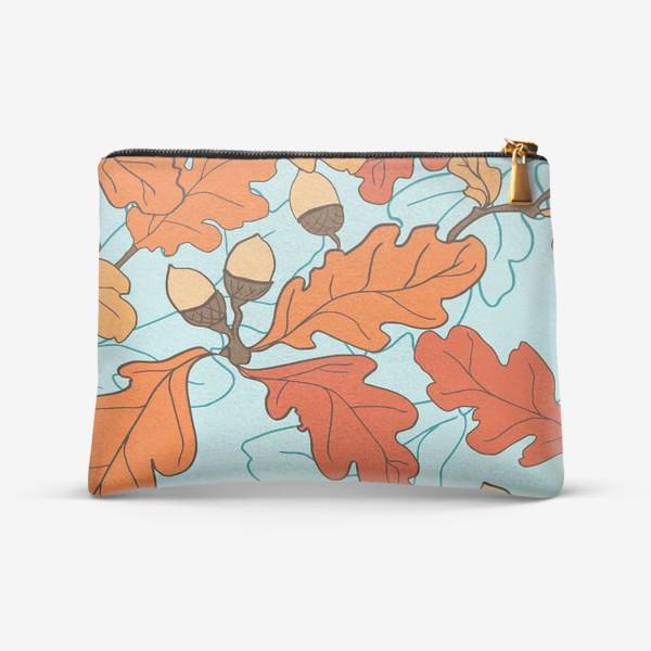 Косметичка «Осенний паттерн с желудями и дубовыми листьями»