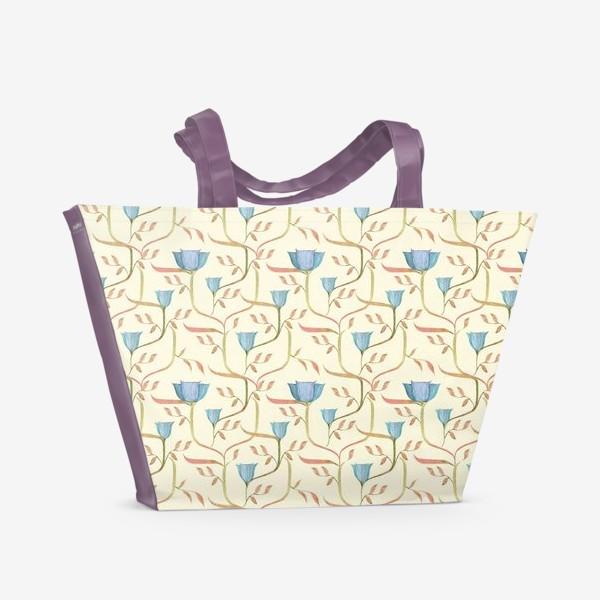 Пляжная сумка «Сказочный сад. Узор с цветами на переплетающихся стеблях.»