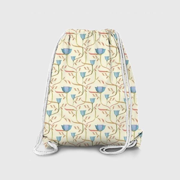 Рюкзак «Сказочный сад. Узор с цветами на переплетающихся стеблях.»