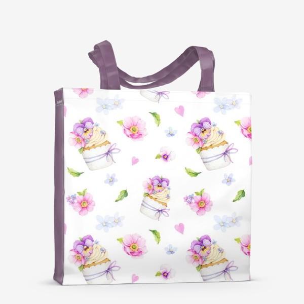 Сумка-шоппер «капкейк с цветами»
