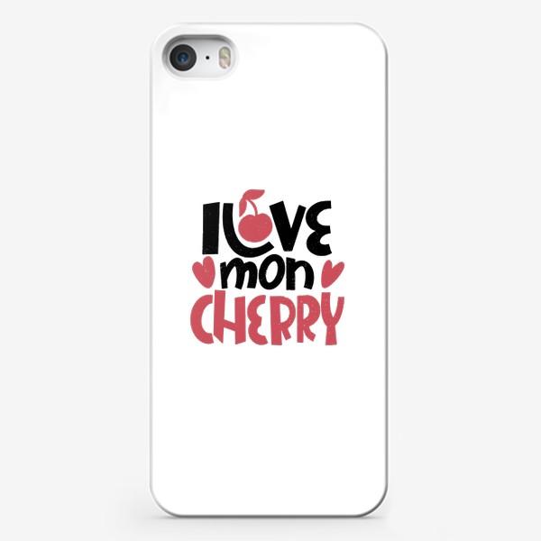 Чехол iPhone «Надпись вишенка i love mon cherry»