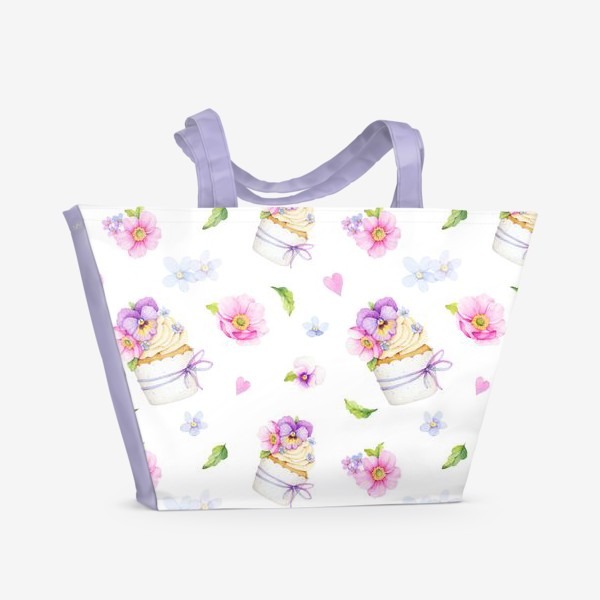 Пляжная сумка «капкейк с цветами»