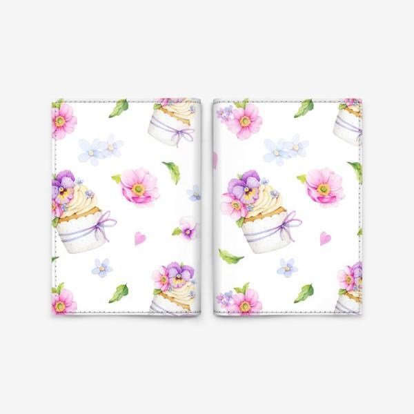Обложка для паспорта «капкейк с цветами»