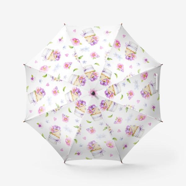 Зонт «капкейк с цветами»