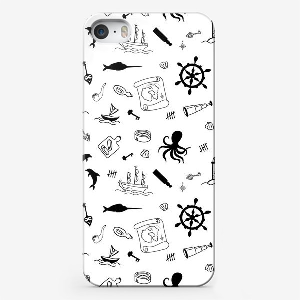 Чехол iPhone «Пиратский морской черно-белый паттерн »