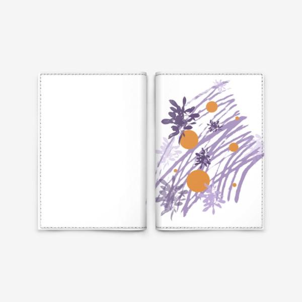 Обложка для паспорта «Абстракция с веточками фиолетово-оранжевая»