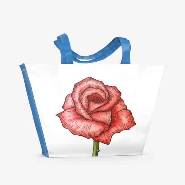 Пляжная сумка «Роза. Акварель»