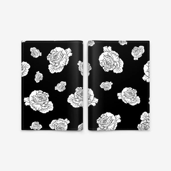 Обложка для паспорта «Бутоны белых роз на черном»