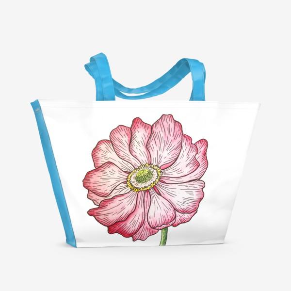 Пляжная сумка «Анемона. Акварель»