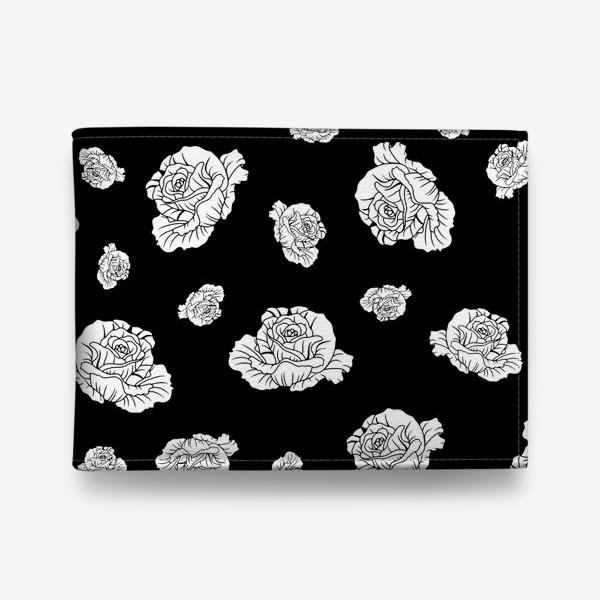 Кошелек «Бутоны белых роз на черном»
