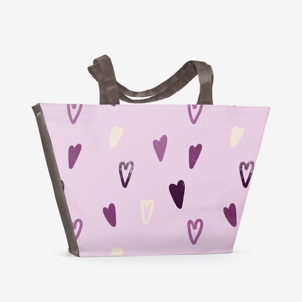 Пляжная сумка «Лавандовые сердечки»