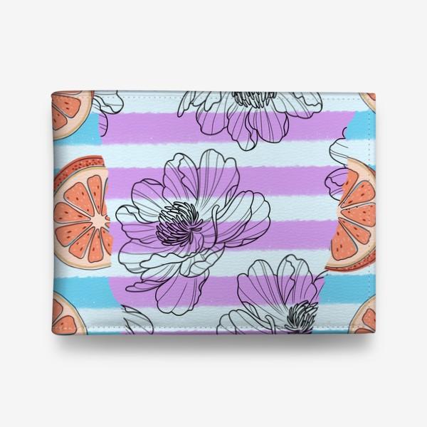 Кошелек «Цветы и грейпфрут/полоска»