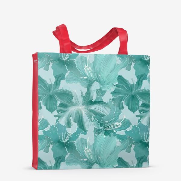 Сумка-шоппер «бирюзовые рододендроны »