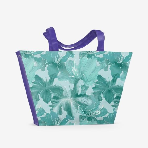 Пляжная сумка «бирюзовые рододендроны »