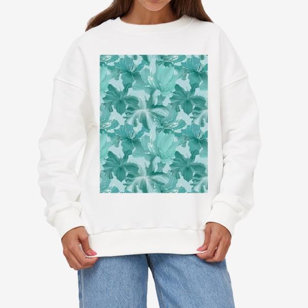 Свитшот «бирюзовые рододендроны »
