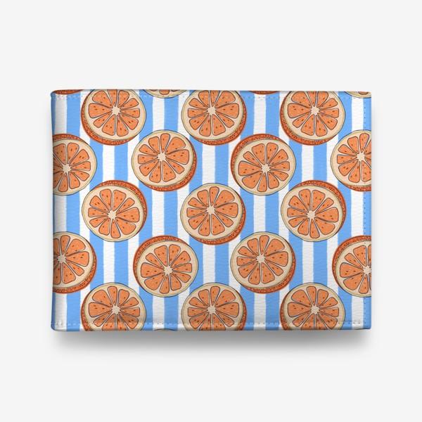 Кошелек «Грейпфрут на синей полоске»