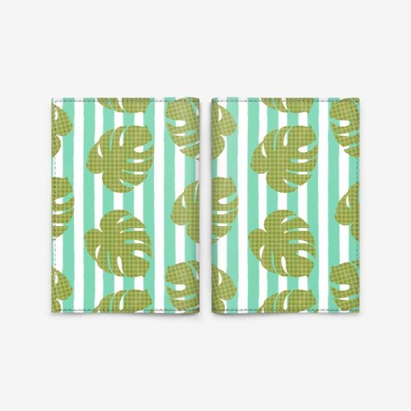 Обложка для паспорта «Тропические листья на бирюзовой полоске»