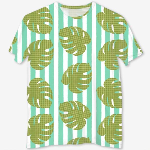 Футболка с полной запечаткой «Тропические листья на бирюзовой полоске»