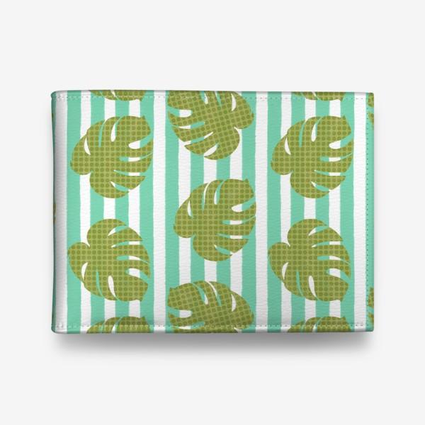Кошелек «Тропические листья на бирюзовой полоске»