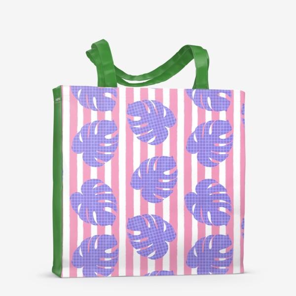 Сумка-шоппер «Тропические листья на розовой полоске»