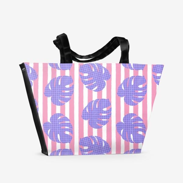 Пляжная сумка «Тропические листья на розовой полоске»
