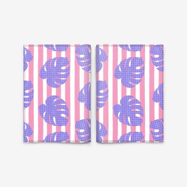 Обложка для паспорта «Тропические листья на розовой полоске»