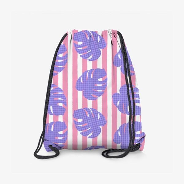 Рюкзак «Тропические листья на розовой полоске»