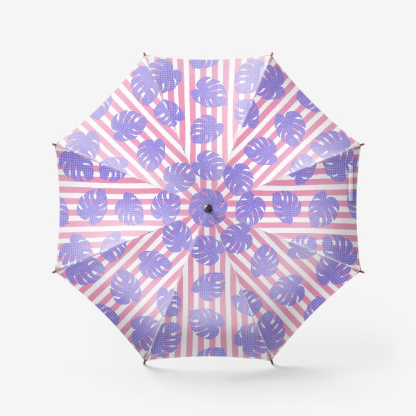Зонт «Тропические листья на розовой полоске»