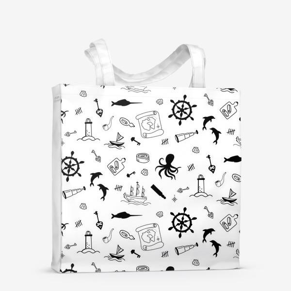 Сумка-шоппер «Пиратский морской черно-белый паттерн »