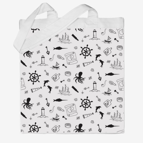 Сумка хб «Пиратский морской черно-белый паттерн »