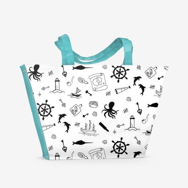 Пляжная сумка «Пиратский морской черно-белый паттерн »