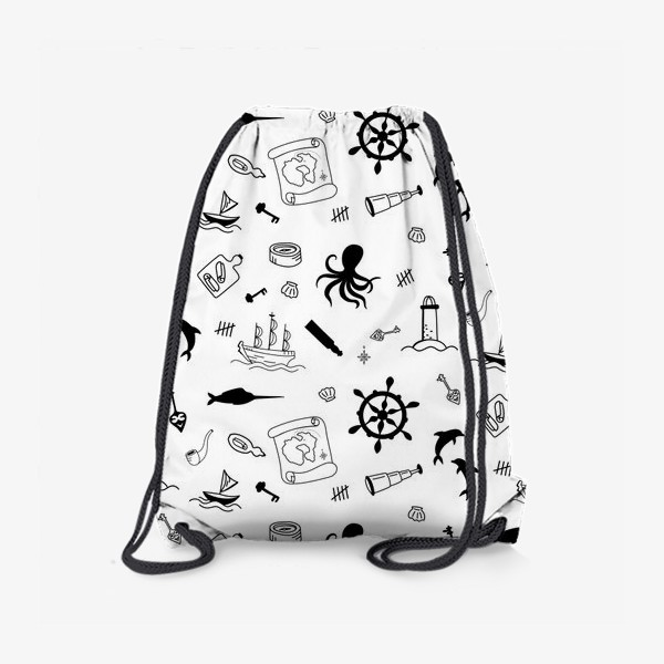 Рюкзак «Пиратский морской черно-белый паттерн »