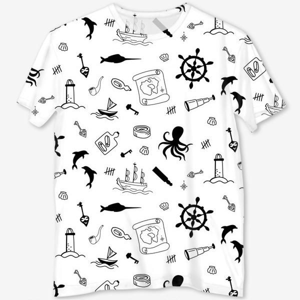 Футболка с полной запечаткой «Пиратский морской черно-белый паттерн »