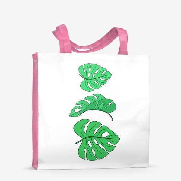 Сумка-шоппер «Монстера листья на белом фоне»
