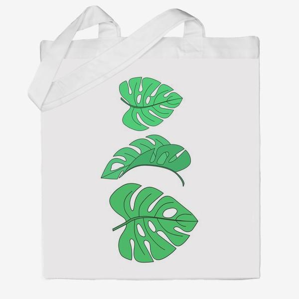 Сумка хб «Монстера листья на белом фоне»