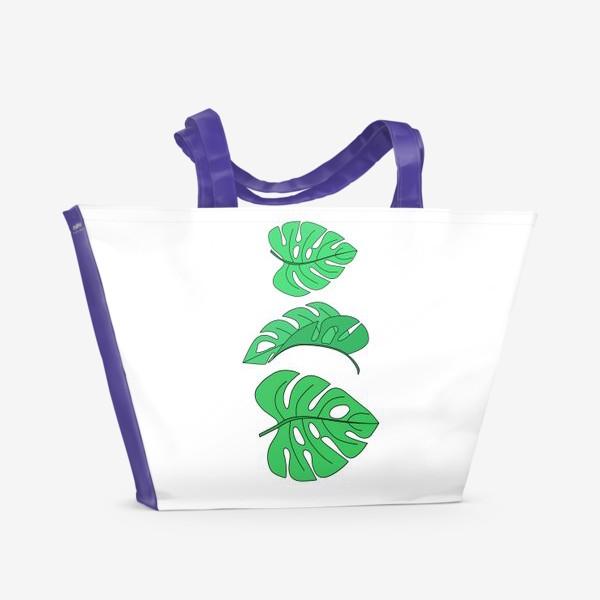 Пляжная сумка «Монстера листья на белом фоне»
