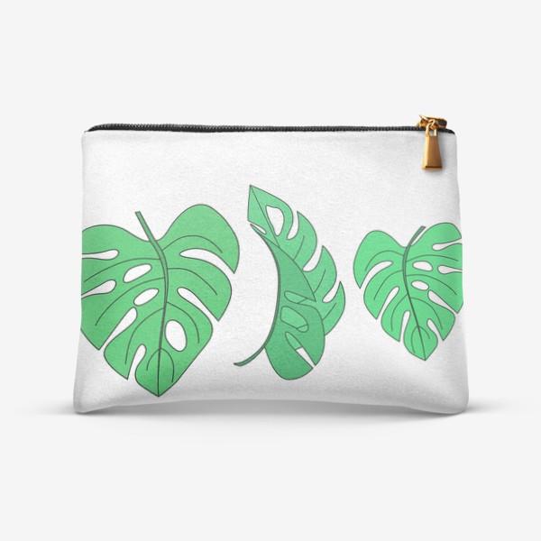 Косметичка «Монстера листья на белом фоне»
