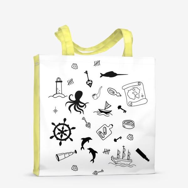 Сумка-шоппер «Пиратский морской черно-белый»