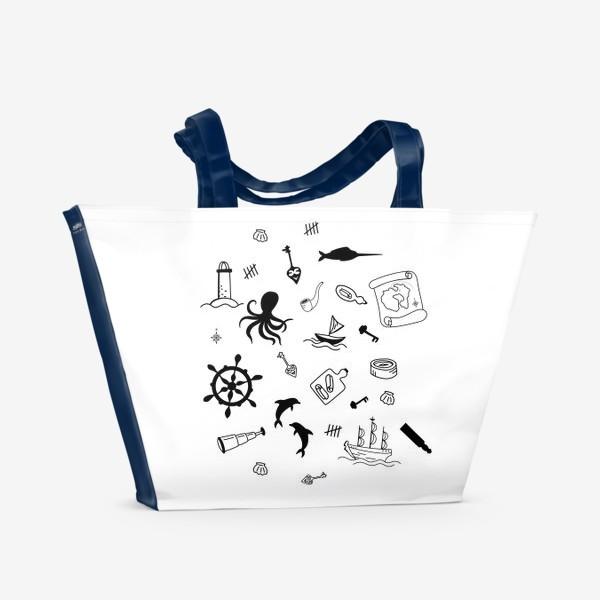 Пляжная сумка «Пиратский морской черно-белый»