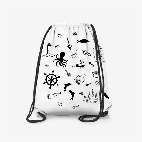 Рюкзак «Пиратский морской черно-белый»