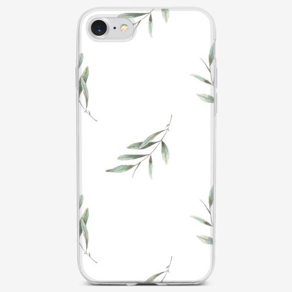Чехол iPhone «Оливковая ветка на белом фоне»