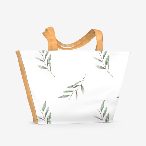 Пляжная сумка «Оливковая ветка на белом фоне»