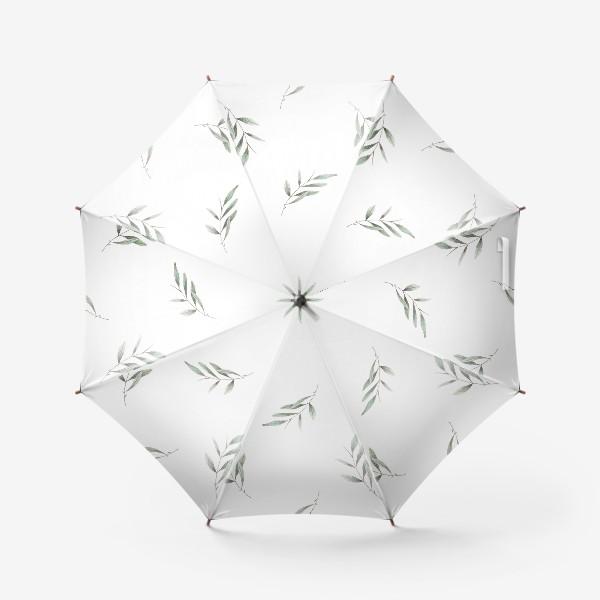 Зонт «Оливковая ветка на белом фоне»