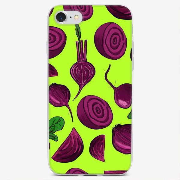 Чехол iPhone «Свекла на салатовом. Паттерн»