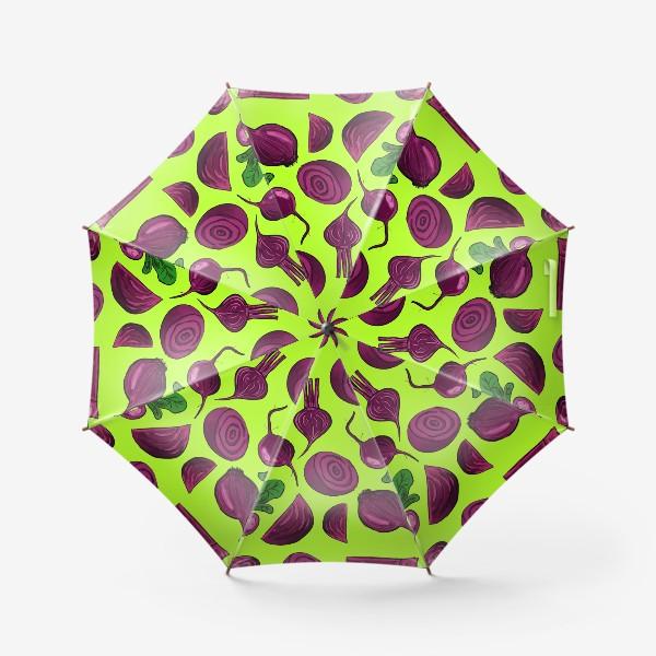 Зонт «Свекла на салатовом. Паттерн»