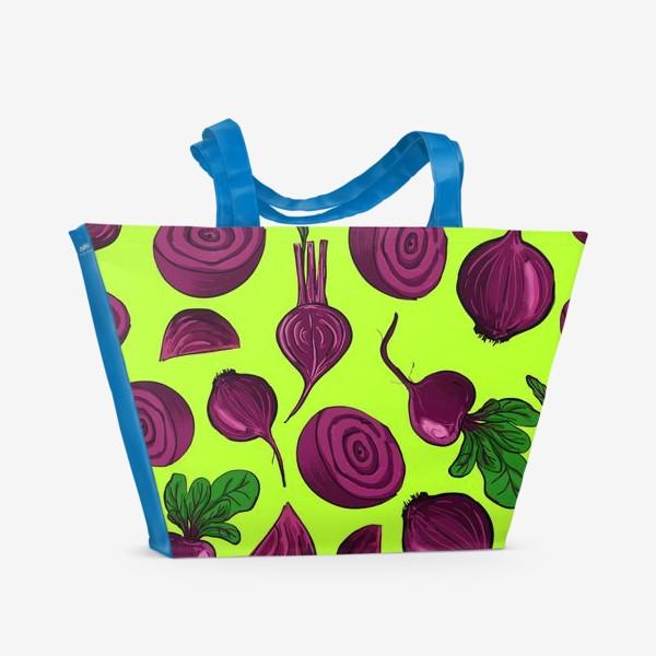 Пляжная сумка «Свекла на салатовом. Паттерн»