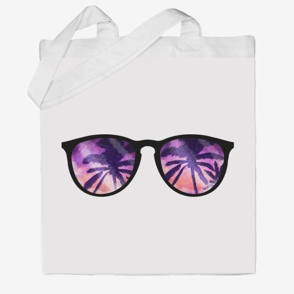 Сумка хб «Лето. Солнечные очки. Пальмы»