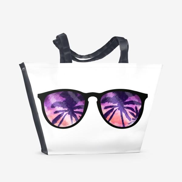 Пляжная сумка «Лето. Солнечные очки. Пальмы»